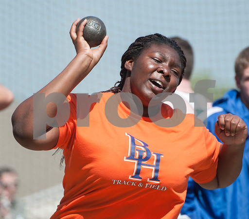 Miracle Yaro, a sophomore at The Brook Hill School, competes in the shot put at the Brook Hill Invitational Thursday March 31, 2016 at the school in Bullard. The track and field event was attended by several private schools as well as public schools from the Tyler, Dallas and Shreveport areas.  (Sarah A. Miller/Tyler Morning Telegraph)