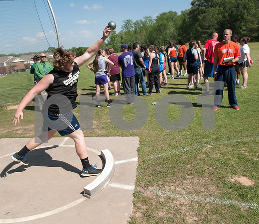 Ronnie Baker, a junior at Grace Community School, competes in the shot put at the Brook Hill Invitational Thursday March 31, 2016 at the school in Bullard. The track and field event was attended by several private schools as well as public schools from the Tyler, Dallas and Shreveport areas.  (Sarah A. Miller/Tyler Morning Telegraph)