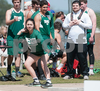 Taylor Florendo, a freshman at Bishop Thomas K. Gorman, competes in the shot put at the Brook Hill Invitational Thursday March 31, 2016 at the school in Bullard. The track and field event was attended by several private schools as well as public schools from the Tyler, Dallas and Shreveport areas.  (Sarah A. Miller/Tyler Morning Telegraph)