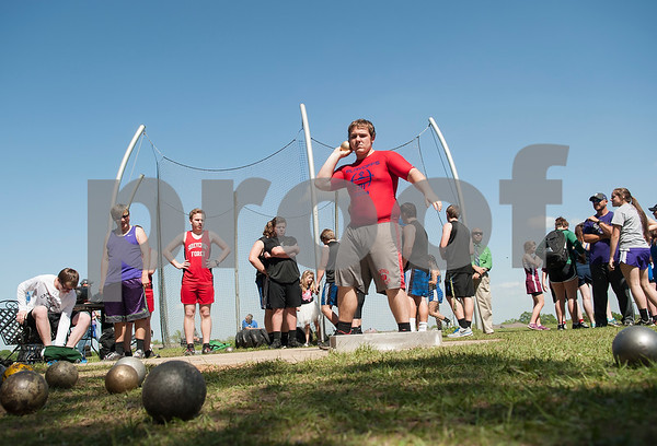 Jagger Wright, a junior at Alba-Golden, competes in the shot put at the Brook Hill Invitational Thursday March 31, 2016 at the school in Bullard.  (Sarah A. Miller/Tyler Morning Telegraph)