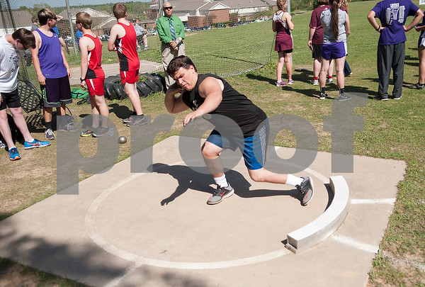 Austin Warren, a senior at Grace Community School, competes in the shot put at the Brook Hill Invitational Thursday March 31, 2016 at the school in Bullard. The track and field event was attended by several private schools as well as public schools from the Tyler, Dallas and Shreveport areas.  (Sarah A. Miller/Tyler Morning Telegraph)