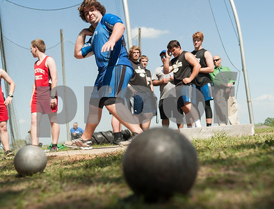 Matthew Latta, a junior at All Saints Episcopal School, competes in the shot put at the Brook Hill Invitational Thursday March 31, 2016 at the school in Bullard.  (Sarah A. Miller/Tyler Morning Telegraph)