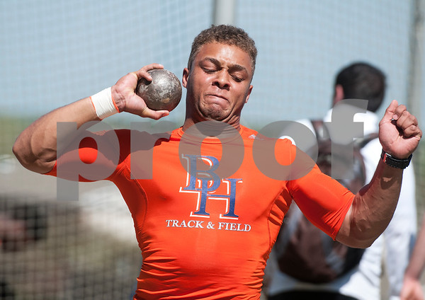 Jordan McGowan, a junior at The Brook Hill School, competes in the shot put at the Brook Hill Invitational Thursday March 31, 2016 at the school in Bullard. The track and field event was attended by several private schools as well as public schools from the Tyler, Dallas and Shreveport areas.  (Sarah A. Miller/Tyler Morning Telegraph)
