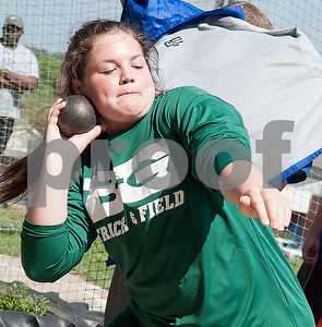 Lea Derfus, a freshman at Bishop Thomas K. Gorman, competes in the shot put at the Brook Hill Invitational Thursday March 31, 2016 at the school in Bullard. The track and field event was attended by several private schools as well as public schools from the Tyler, Dallas and Shreveport areas.  (Sarah A. Miller/Tyler Morning Telegraph)