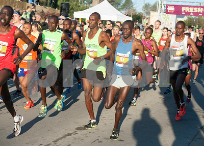 The elite runners head out from the gates at the start of the Fresh 15 15k race Saturday March 5, 2016 in Tyler.  (Sarah A. Miller/Tyler Morning Telegraph)