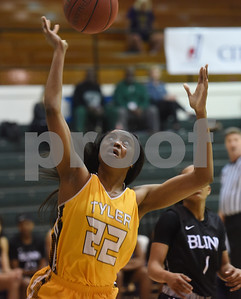 Tyler Junior College's Catherine Okwilagwe keeps her eye on the ball during their game against Blinn College in the Region XIV Basketball Tournament held Wednesday March 8, 2017 at John Alexander Gym in Jacksonville.  (Sarah A. Miller/Tyler Morning Telegraph)