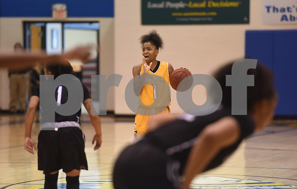 Tyler Junior College's Lakendra Bassett calls to her teammates during their game against Blinn College in the Region XIV Basketball Tournament held Wednesday March 8, 2017 at John Alexander Gym in Jacksonville.  (Sarah A. Miller/Tyler Morning Telegraph)