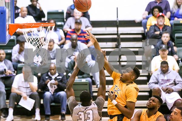 Tyler Junior College freshman Tajuan Agee (34) shoots the ball during a NJCAA Region XIV tournament game at John Alexander Gym in Jacksonville, Texas, on Thursday, March 9, 2017. Lee College won 70-69. (Chelsea Purgahn/Tyler Morning Telegraph)