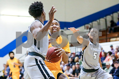 Tyler Junior College sophomore Jaqwan McCauley (3) prepares to pass the ball during a NJCAA Region XIV tournament game at John Alexander Gym in Jacksonville, Texas, on Thursday, March 9, 2017. Lee College won 70-69. (Chelsea Purgahn/Tyler Morning Telegraph)