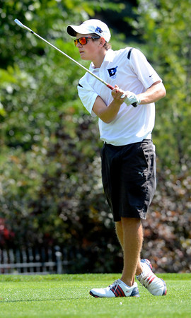 Carson Jones of Alexander Dawson follows his tee shot at the Class 3A Northern Regional Golf Tournament at the Boulder Country Cluf on Thursday September 20, 2012. <br /> Photo by Paul Aiken