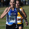 Jill Carlson of Broomfield moves ahead to finish 4th in the 4A regional on Thursday.<br /> The regional 3A/4A cross country races were held at Lyons High School.<br /> Cliff Grassmick / October 22, 2009