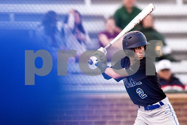 John Tyler's Luke Gullatt (2) prepares to swing during a high school baseball game at Mike Carter Field in Tyler, Texas, on Tuesday, April 10, 2018. (Chelsea Purgahn/Tyler Morning Telegraph)