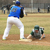 Nashoba's Nick Borsari gets safely back to first before Leominster's Brennan Cuddahy can apply the tag. 	SENTINEL & ENTERPRISE / SCOTT LAPRADE