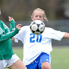 Centaurus' Caitlyn Hughes (right) keeps the ball from Standley Lake's Erin Cortvriendt (left) during their soccer game at Centaurus High School in Louisville, Colorado April 13, 2012. CAMERA/MARK LEFFINGWELL