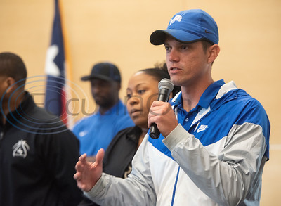John Tyler High School coaches speak about their student athletes during a collegiate signing ceremony at the Tyler ISD CTC on Tuesday April 16, 2019.  (Sarah A. Miller/Tyler Morning Telegraph)
