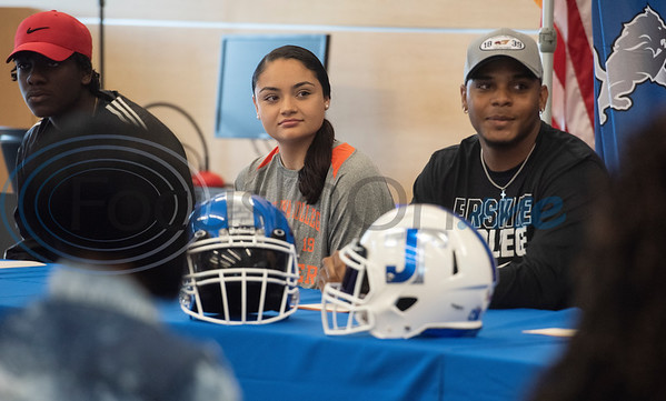 John Tyler High School student athletes participate in a collegiate signing ceremony at the Tyler ISD CTC on Tuesday April 16, 2019.  (Sarah A. Miller/Tyler Morning Telegraph)