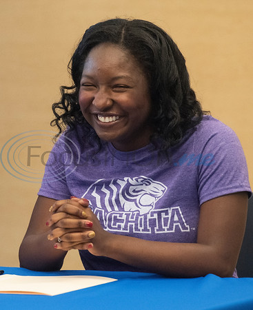 John Tyler High School tennis player Mackenzie Wade participates in a collegiate signing ceremony at the Tyler ISD CTC on Tuesday April 16, 2019.  (Sarah A. Miller/Tyler Morning Telegraph)