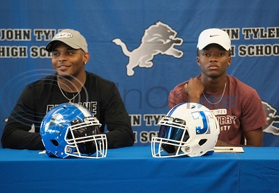 John Tyler High School student athlete Xavier Allen will play football at Erskine College and Divine Patterson will play football for McMurry University.  (Sarah A. Miller/Tyler Morning Telegraph)