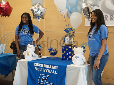 John Tyler High School student athletes Lacorria Rollins and Talia Smith will play volleyball for Cisco College.   (Sarah A. Miller/Tyler Morning Telegraph)