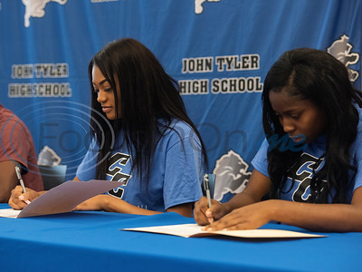 John Tyler High School student athletes Talia Smith and Lacorria Rollins will play volleyball for Cisco College.   (Sarah A. Miller/Tyler Morning Telegraph)