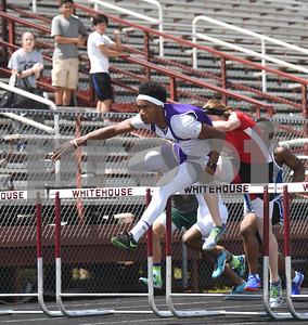 Lufkin's Levonte White takes the lead in the 110 meter hurdles Thursday at the 15/16-5A Track and Field Championships held in Whitehouse Thursday April 21, 2016.  (Sarah A. Miller/Tyler Morning Telegraph)