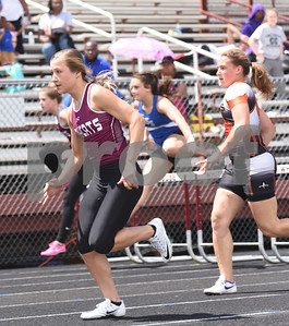 Whitehouse sophomore Macy Smith takes third place in the 100 meter hurdles Thursday at the 15/16-5A Track and Field Championships held in Whitehouse Thursday April 21, 2016.  (Sarah A. Miller/Tyler Morning Telegraph)