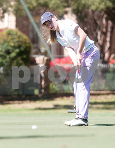 Sydney McConnell of Tyler putts on the 8th green during the Azalea Trail Junior Golf Classic held at Hollytree Country Club in Tyler Saturday April 2, 2016.  (Sarah A. Miller/Tyler Morning Telegraph)
