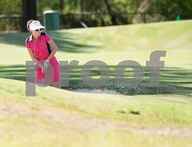 Katherine Adelmann of Duncanville hits out from the sand on the 13th hole during the Azalea Trail Junior Golf Classic held at Hollytree Country Club in Tyler Saturday April 2, 2016.  (Sarah A. Miller/Tyler Morning Telegraph)