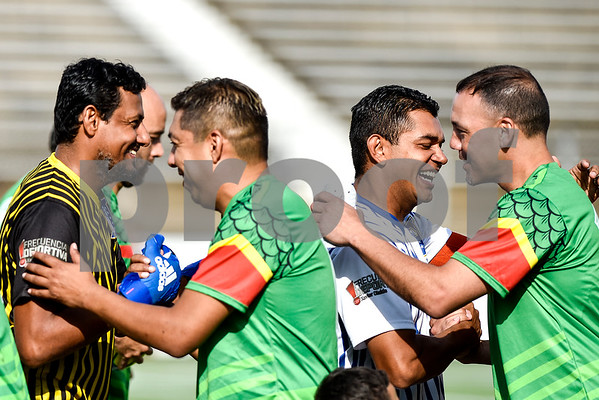 Honduras and Mexico players greet each other before a soccer game at Christus Trinity Mother Frances Rose Stadium in Tyler, Texas, on Sunday, April 2, 2017. Mexico beat Honduras 3-2. (Chelsea Purgahn/Tyler Morning Telegraph)
