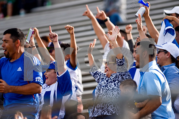 Honduras fans cheer after a Honduras player made a goal during a soccer game at Christus Trinity Mother Frances Rose Stadium in Tyler, Texas, on Sunday, April 2, 2017. Mexico beat Honduras 3-2. (Chelsea Purgahn/Tyler Morning Telegraph)