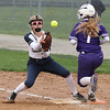 Marlie McNulty of Keystone beats the throw to first as Zoe Lehtonen covers for Pittsford Sutherland. Randy Meyers -- The Morning Journal