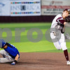 Whitehouse's Skyler Trevino (2) throws the ball to first base to get a double out after tagging Lindale's Jamey Richey (9) out during a high school baseball game in Whitehouse, Texas, on Tuesday, April 24, 2018. (Chelsea Purgahn/Tyler Morning Telegraph)