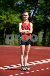 Mary Claire Neal, 18, poses for a picture at Robert E. Lee High School in Tyler, Texas, on Tuesday, April 25, 2017. Neal has qualified in the 800mm race for the regional meet, which will take place in Waco this weekend. (Chelsea Purgahn/Tyler Morning Telegraph)