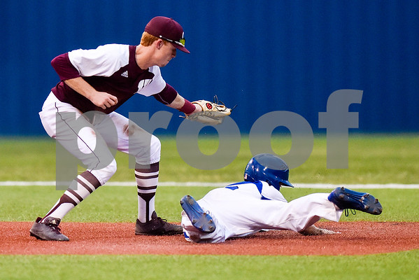 A Whitehouse player tags Lindale's Drew Yochum out during a high school baseball game at Lindale High School in Lindale, Texas, on Tuesday, April 25, 2017. (Chelsea Purgahn/Tyler Morning Telegraph)