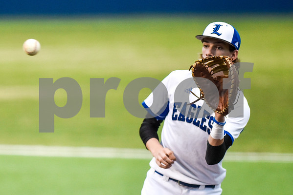 Lindale's Kale Walters prepares to catch the ball during a high school baseball game at Lindale High School in Lindale, Texas, on Tuesday, April 25, 2017. (Chelsea Purgahn/Tyler Morning Telegraph)