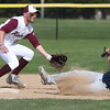 Lorain's Raymond Rodriguez slides into second safely as Rocky River infielder Cam Blue waits on the throw. Randy Meyers -- The Morning Journal