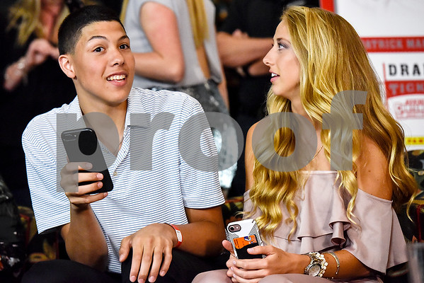 Jackson Mahomes and Brittany Matthews react to a pick during an NFL Draft watch party at Lago del Pino in Tyler, Texas, on Thursday, April 27, 2017. Mahomes II was the tenth overall pick in the first round of the NFL draft for the Kansas City Chiefs after a trade with the Buffalo Bills. (Chelsea Purgahn/Tyler Morning Telegraph)