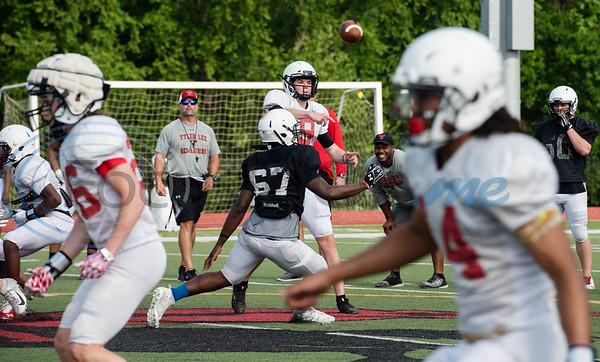 Robert E. Lee High School football players practice at the school on Monday April 29, 2019.  (Sarah A. Miller/Tyler Morning Telegraph)