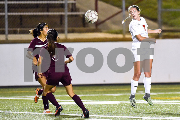Kilgore's Leslie Bennett (7) looks back at the ball during a high school soccer playoff game at Rose Stadium in Tyler, Texas, on Tuesday, April 4, 2017. (Chelsea Purgahn/Tyler Morning Telegraph)