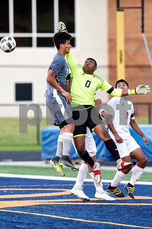 Kilgore's Kaleb Jett(0) jumps to protect the goal during a high school soccer playoff game at Brook Hill Herrington Stadium in Bullard, Texas, on Tuesday, April 4, 2017. (Chelsea Purgahn/Tyler Morning Telegraph)