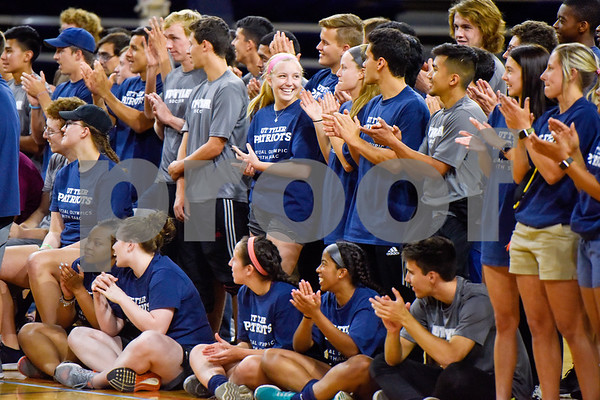 UT Tyler athletes cheer during a basketball game during the Special Olympics at the University of Texas at Tyler in Tyler, Texas, on Wednesday, April 4, 2018. Hundreds of people attended the event, which included a number of different sports games before basketball games between UT Tyler athletes and Special Olympic athletes. (Chelsea Purgahn/Tyler Morning Telegraph)