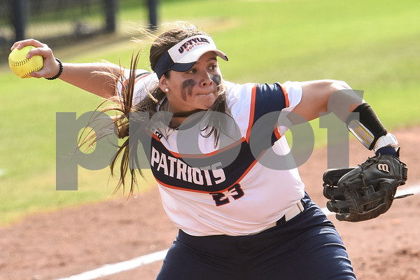 UT Tyler's Theresa Gonzales throws the ball to first base during a college softball game at the University of Texas at Tyler in Tyler, Texas, on Friday, April 6, 2018. UT Tyler beat East Texas Baptist University 4-2. (Chelsea Purgahn/Tyler Morning Telegraph)