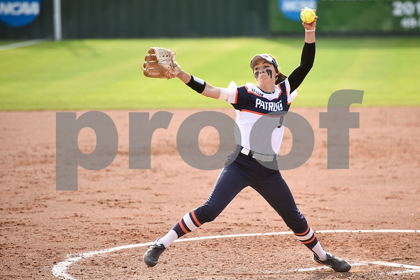 UT Tyler's Colleen Bentke pitches during a college softball game at the University of Texas at Tyler in Tyler, Texas, on Friday, April 6, 2018. UT Tyler beat East Texas Baptist University 4-2. (Chelsea Purgahn/Tyler Morning Telegraph)