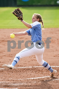 East Texas Baptist University's Jordan Anderson pitches during a college softball game at the University of Texas at Tyler in Tyler, Texas, on Friday, April 6, 2018. UT Tyler beat East Texas Baptist University 4-2. (Chelsea Purgahn/Tyler Morning Telegraph)