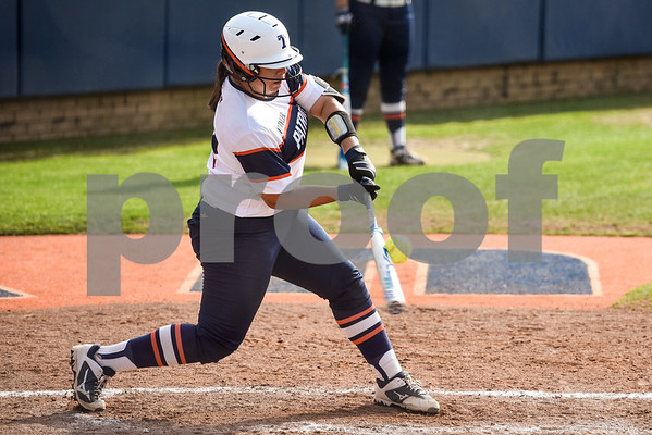 UT Tyler's Ashley Perez swings during a college softball game at the University of Texas at Tyler in Tyler, Texas, on Friday, April 6, 2018. (Chelsea Purgahn/Tyler Morning Telegraph)