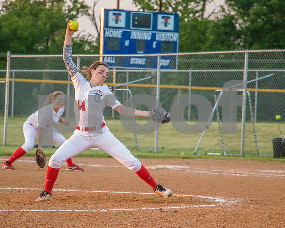 Lady Raiders Makenna Aycock pitching at Faulkner park against Rowlett.