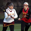 Avon Lake's Marina Wilson looks to pass to a teammate and is defended by Rachael Gordon of Brecksville-Broadview Heights. Randy Meyers -- The Morning Journal