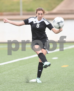 Kilgore's Jade Norris (8) kicks the ball during their U.I.L. Region II Class 4-A soccer tournament game against Athens Saturday April 9, 2016 at Trinity Mother Frances Rose Stadium in Tyler. Kilgore won.  (Sarah A. Miller/Tyler Morning Telegraph)