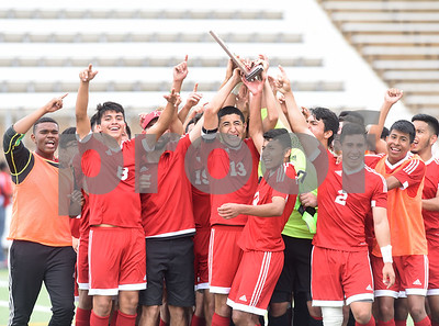 The Kilgore High School boys' soccer team celebrates on the field after winning their U.I.L. Region II Class 4-A tournament game against Henderson Saturday April 9, 2016 at Trinity Mother Frances Rose Stadium in Tyler.   (Sarah A. Miller/Tyler Morning Telegraph)
