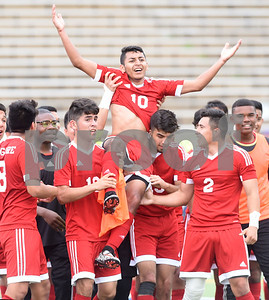 The Kilgore High School boys' soccer team lifts player Yonatan Contreras on their shoulders as they celebrate on the field after winning their U.I.L. Region II Class 4-A tournament game against Henderson Saturday April 9, 2016 at Trinity Mother Frances Rose Stadium in Tyler.   (Sarah A. Miller/Tyler Morning Telegraph)